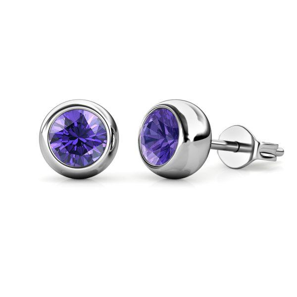Birth Stone Moon Earrings